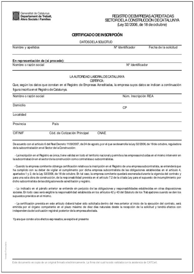certificado de inscripción REA